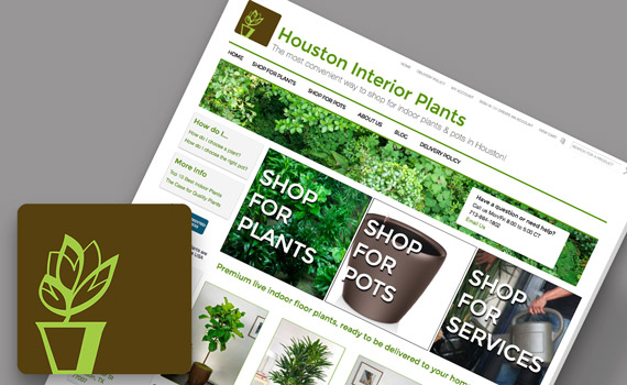 Houston Interior Plants website mockup